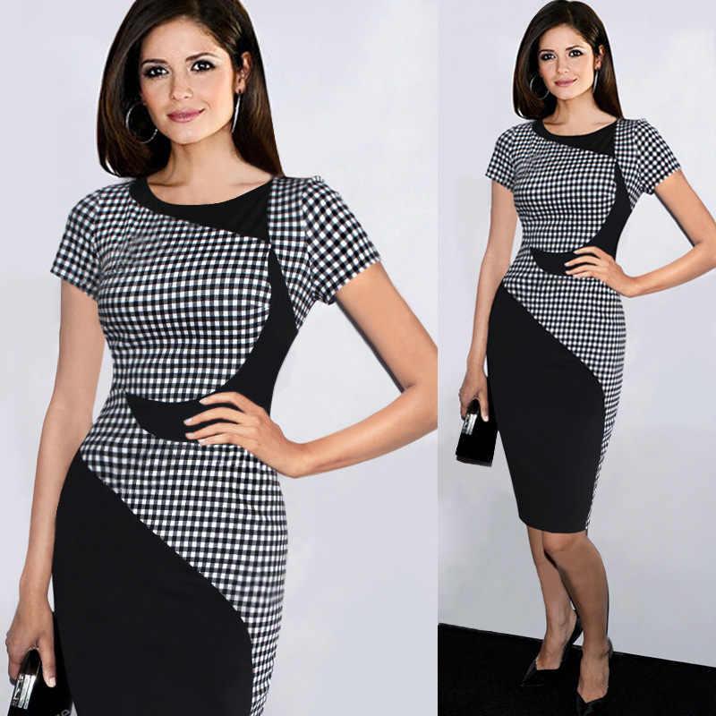 Для женщин модное сексуальное, узкое, обтягивающее черно-белая клетка, платье в стиле пэчворк Цвет короткий рукав с круглым вырезом Карандаш Короткие официально-деловое платье YF201756
