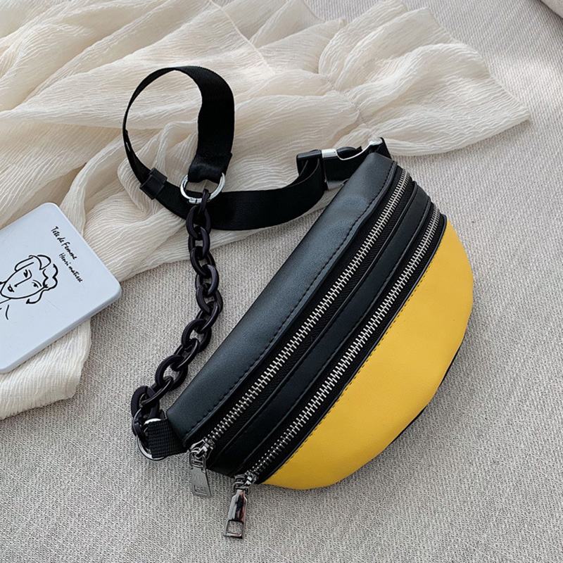 CCRXRQ Fashion Women PU Waist Bags Ladies Chain Chest Bag 2019 New Solid Waist Pack Crossbody Bag Handy Fanny Pack Banana Packet
