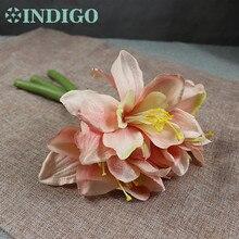 3pcs/Lot Purple Mini Amaryllis Orchids Bouquet Bride Wedding Flower Artificial Floral Event Party Free Shipping