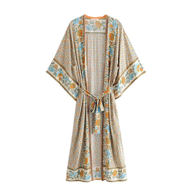 צועני Boho שיק קיץ בציר פרחוני הדפסת Sashes קימונו נשים האופנה Loose קרדיגן ארוך חוף חולצות חולצות Blusas Mujer