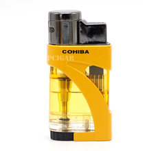 COHIBA Lighter Jet 2 Obor Butana Gas Api Logam Plastik Lighter Tahan Angin Rokok Cigar Lighter Flame Merek Baru Korek Api