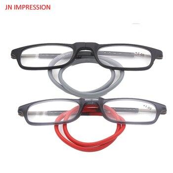 81878b968e Gafas de lectura con imán mejoradas para hombres y mujeres con cuello  colgante ajustable y gafas presbiópicas delanteras magnéticas + 1,00 + 1,50  + 2,00 + 3 ...