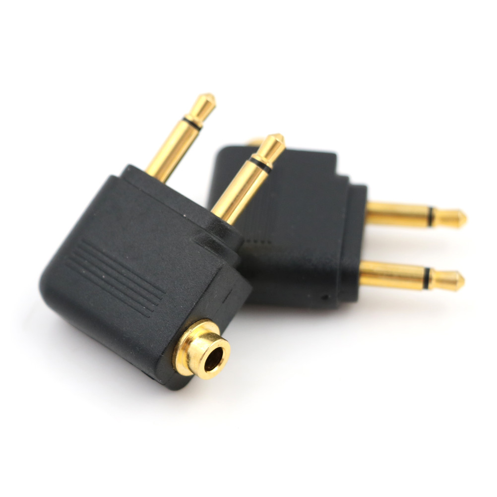 2PCS/lot  2 X 3.5 Mm Stereo Ear Audio Adapter Jack To Air Aircraft Airline Airplane For Headset Headphone 3.5mm To