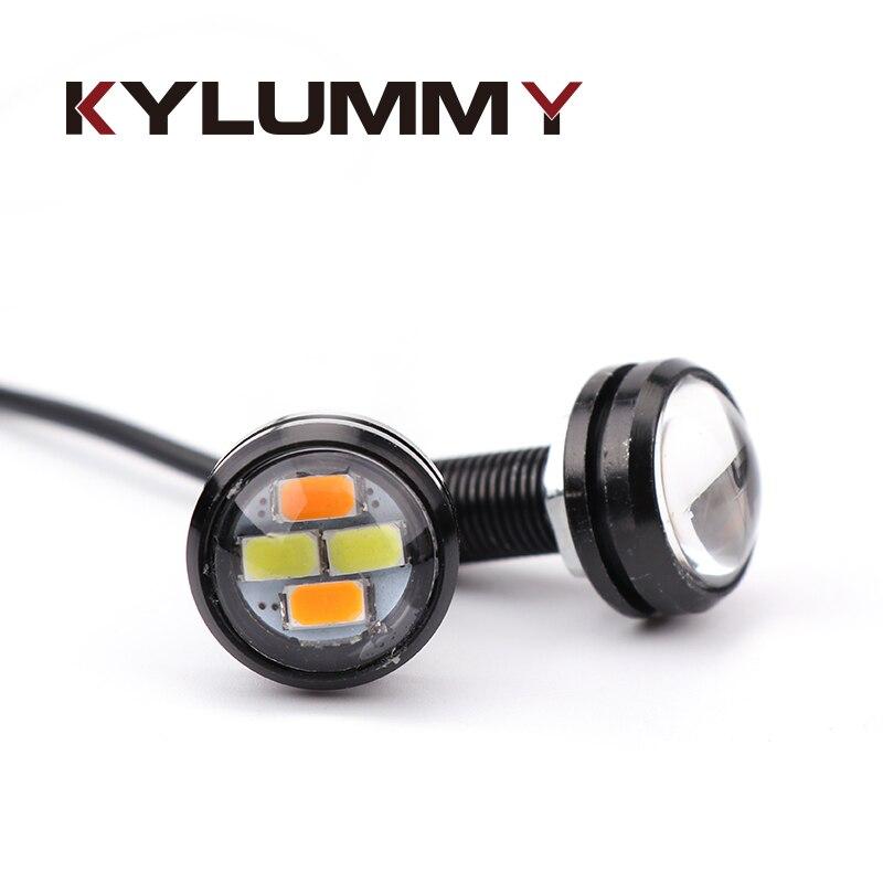 2 шт./лот светодиодный дневные Подножка огни DRL орел глаза 12 В 6500 К 22 мм туман лампы просвет поворота Реверсивный сигнальные огни автомобилей …