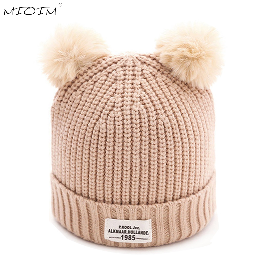 MIOIM Faux Fur Pompom Beanie Hat Baby Winter Knitted Hat For Baby Girls Boys Kids Child Soft Warm Double Fur Ball Gorros Caps 2 new star spring cotton baby hat for 6 months 2 years with fluffy raccoon fox fur pom poms touca kids caps for boys and girls