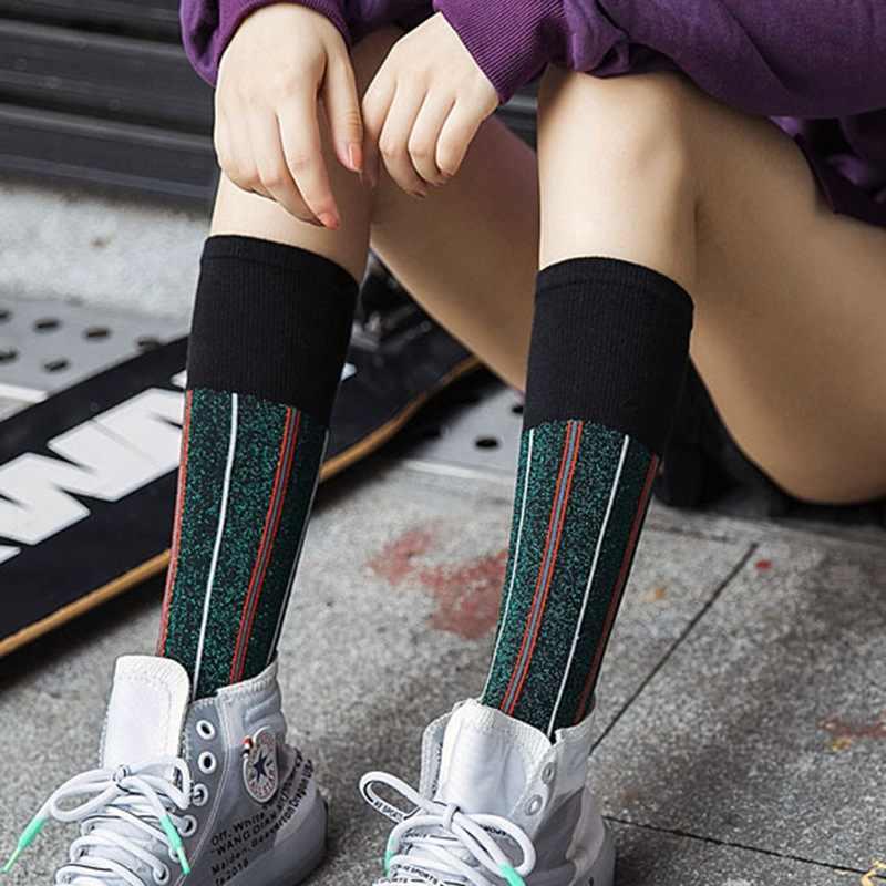 2019 женские носки золотого и серебряного цвета модные оригинальные фирменные дизайн Блестки Блестящие кучи носки уличного стиля платья носки