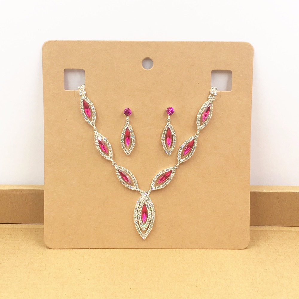 Wholesale Square Kraft Jewelry Display Necklace Earring Card Paper Pendant Ring Card Set  Jewelry Packing Displays Cards 20pcs