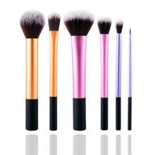 6Pcs Pink Makeup Brush Set Blush Foundation Oval Blending Highlighter Contour Brush Blusher Makeup Brushes Cosmetic Make Up Set