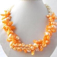 Terisa перламутровая бижутерия Настоящее Жемчужное ожерелье 3 ряда Белый Оранжевый пресноводный жемчуг ожерелье 20 дюймов