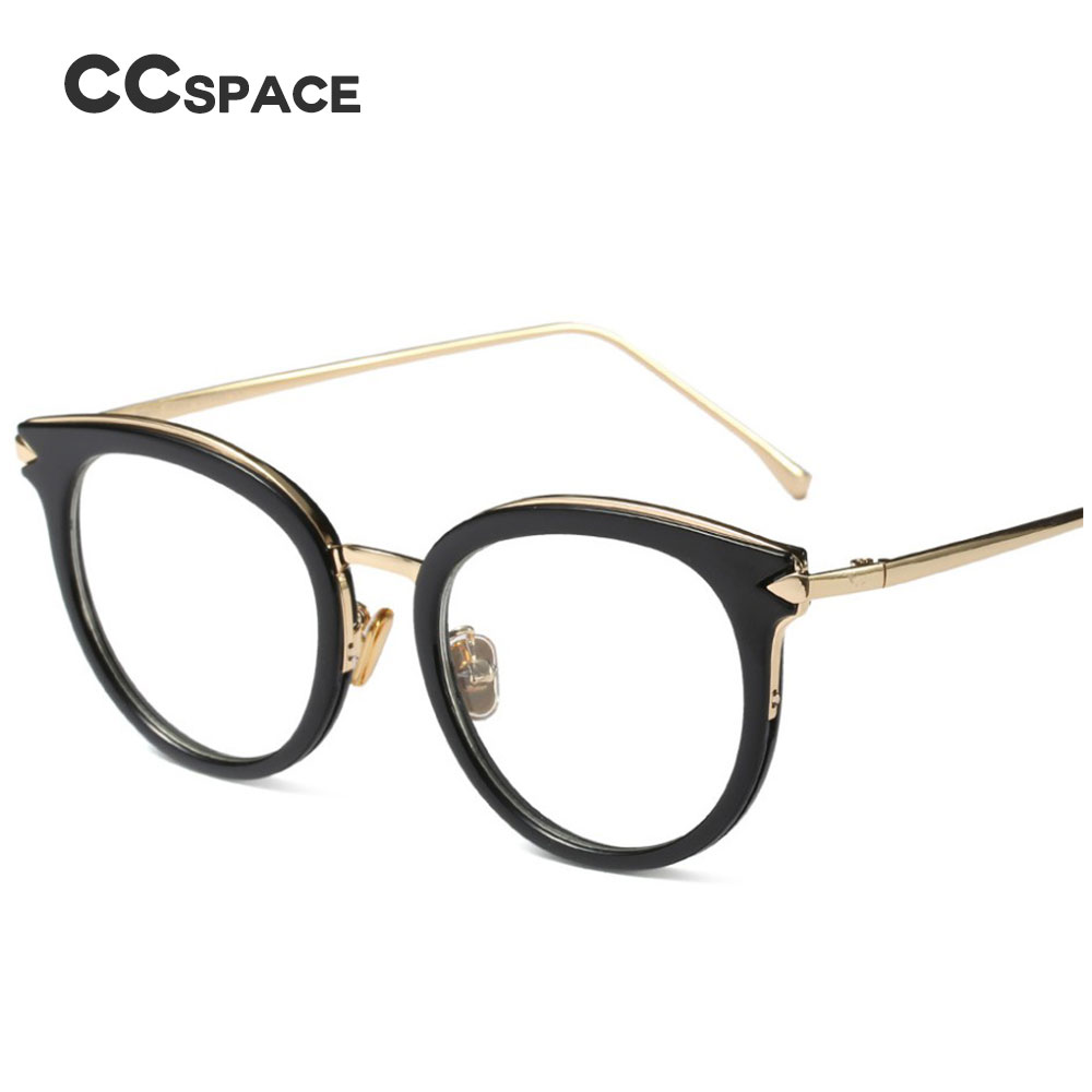 45560 Cat Eye Round Glasses Frames Women Vintage Metal CCSPACE Brand Designer Optical Fashion Eyewear Computer Glasses