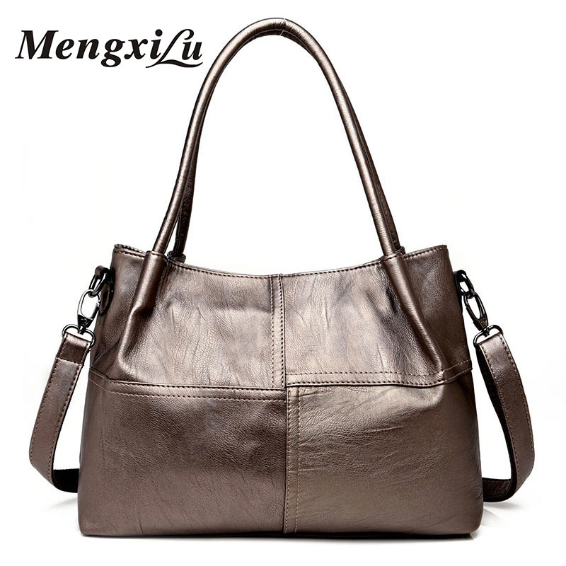 MENGXILU Women Leather Handbags High Quality Patchwork Women Bags Designer Women Shoulder Bags Large Capacity Casual Tote Bags charmiyi 2018 designer high quality leather women handbags large capacity female messenger bags casual ladies shoulder bag tote
