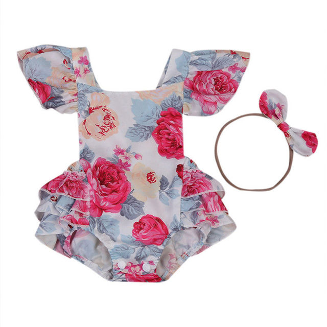 f64794cb0a55 2pcs Set Newborn Infant Baby Girl Floral Romper Back Cross Jumpsuit bowknot  Headband Outfits Sunsuit