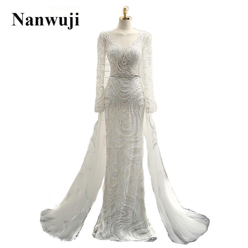 2017 vestidos de novia de imagen real de lujo vestido de novia sirena con cuello alto de manga larga robe de mariage