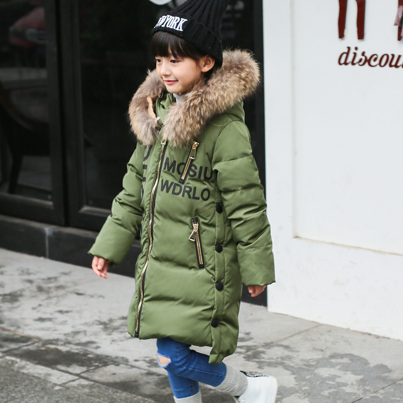 new 2016 high quality girl long jacket top fur hooded letter down coat for girls kids winter jackets and coats children clothing  цены онлайн