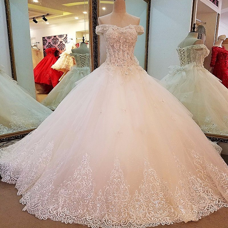 Vestido De Novia Wedding Dress 2017 The Bride High-end Elegant Boat Neck Luxury Chapel Train Ball Gown Off The Shoulder Noble