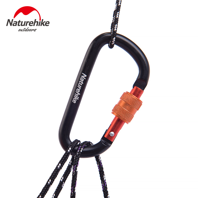 2Pcs Naturehike 8cm D Shape Aluminum Alloy Carabiner Hiking Camping Hook Mosqueton Outdoor Multi Tools Hooks Buckles With Lock