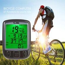 SunDing SD-Computadora de La Bicicleta Bike Computer Velocímetro de Ciclo Impermeable Del Odómetro 563A Multifunción con PANTALLA LCD luz de Fondo Verde
