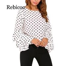 Women Polka Dot Blusas Shirts  Spring Fashion O Neck Long Sleeve Blouse Femininas Casual Tops