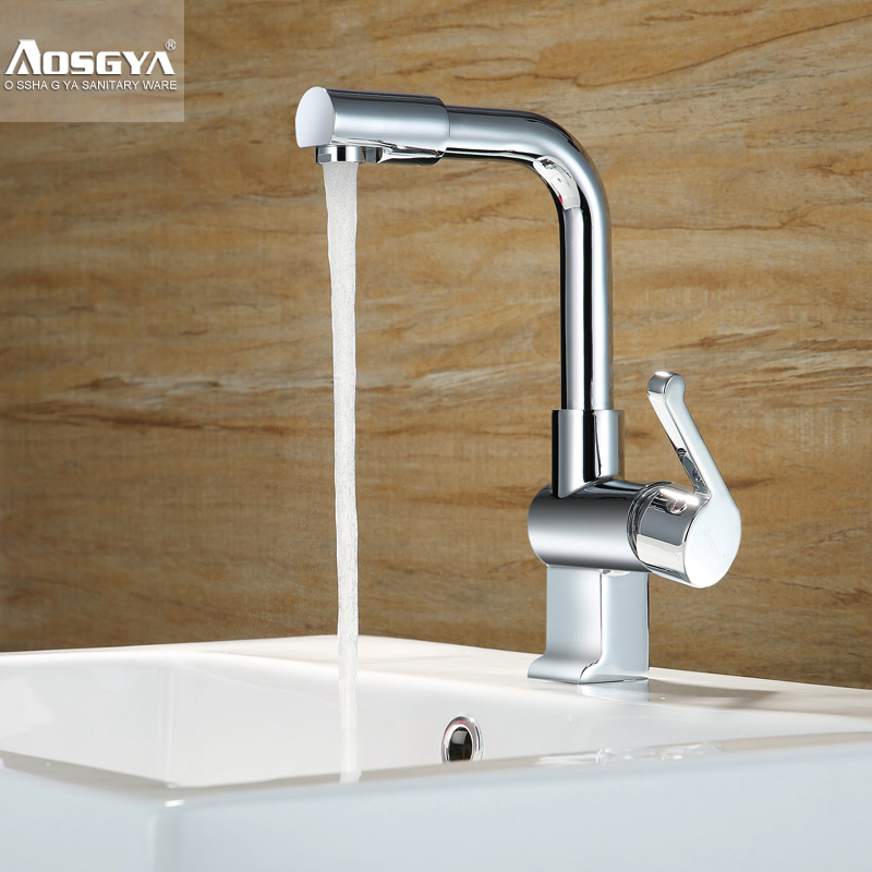 ФОТО wholesale and retail  chrome single lever 360 degree rotating hot and cold bathroom sink  basin faucet