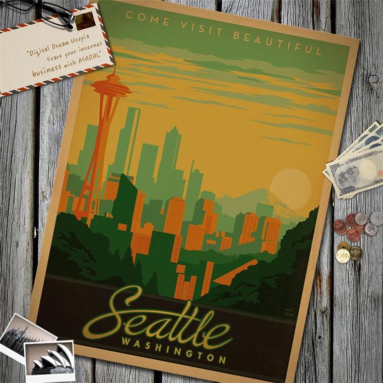 Seattle Washington Classic Vintage Retro Poster Kraft Paper Wall Sticker Art Painting Cafe Bar Living Room Home Decor Free Ship