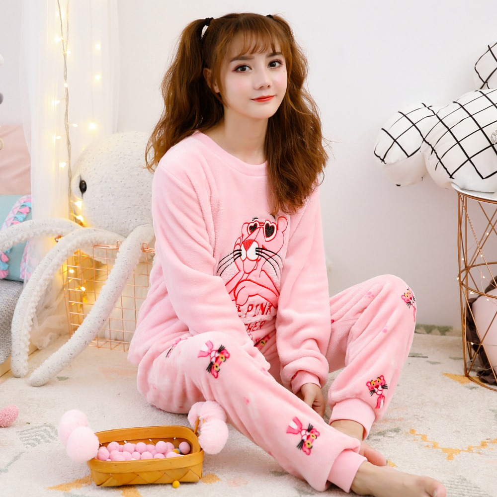 2018 New Women's   Pajamas   Winter   Pajama     Sets   Long Sleeve Pyjamas For Women Sleepwear Thick Warm Coral Fleece   Pajamas   Homewear