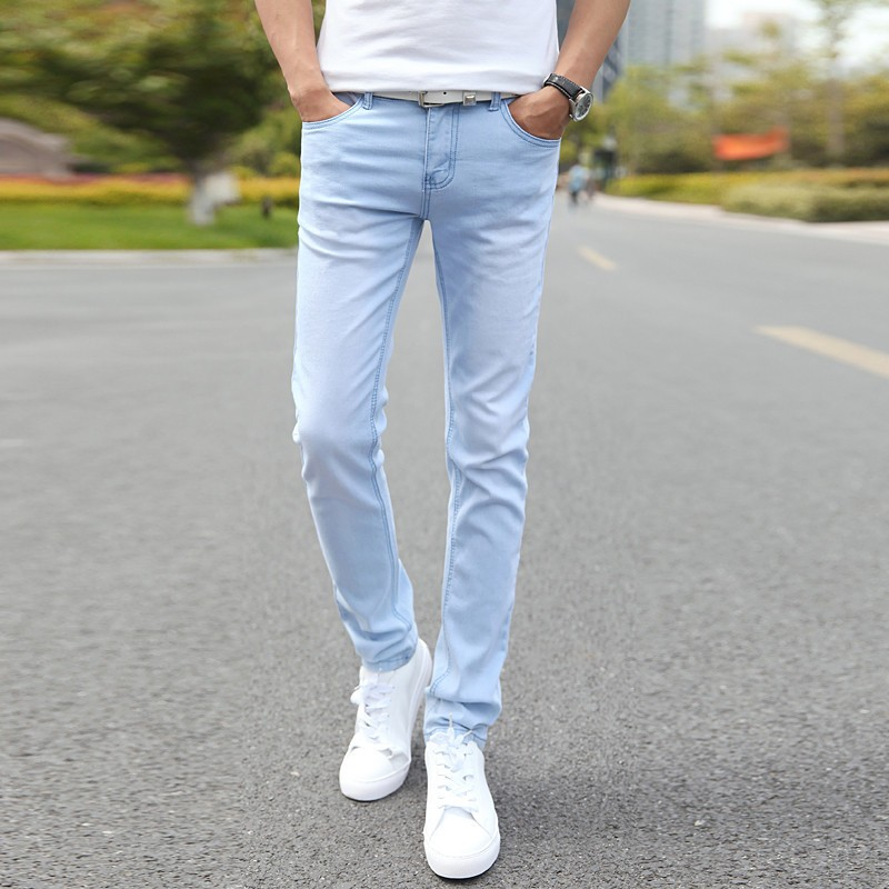 2019 New Fashion Men's Jeans Solid Color Casual Stretch Skinny Jeans Trend Slim Men's Boutique Trousers Stretch Jeans Men 27-36