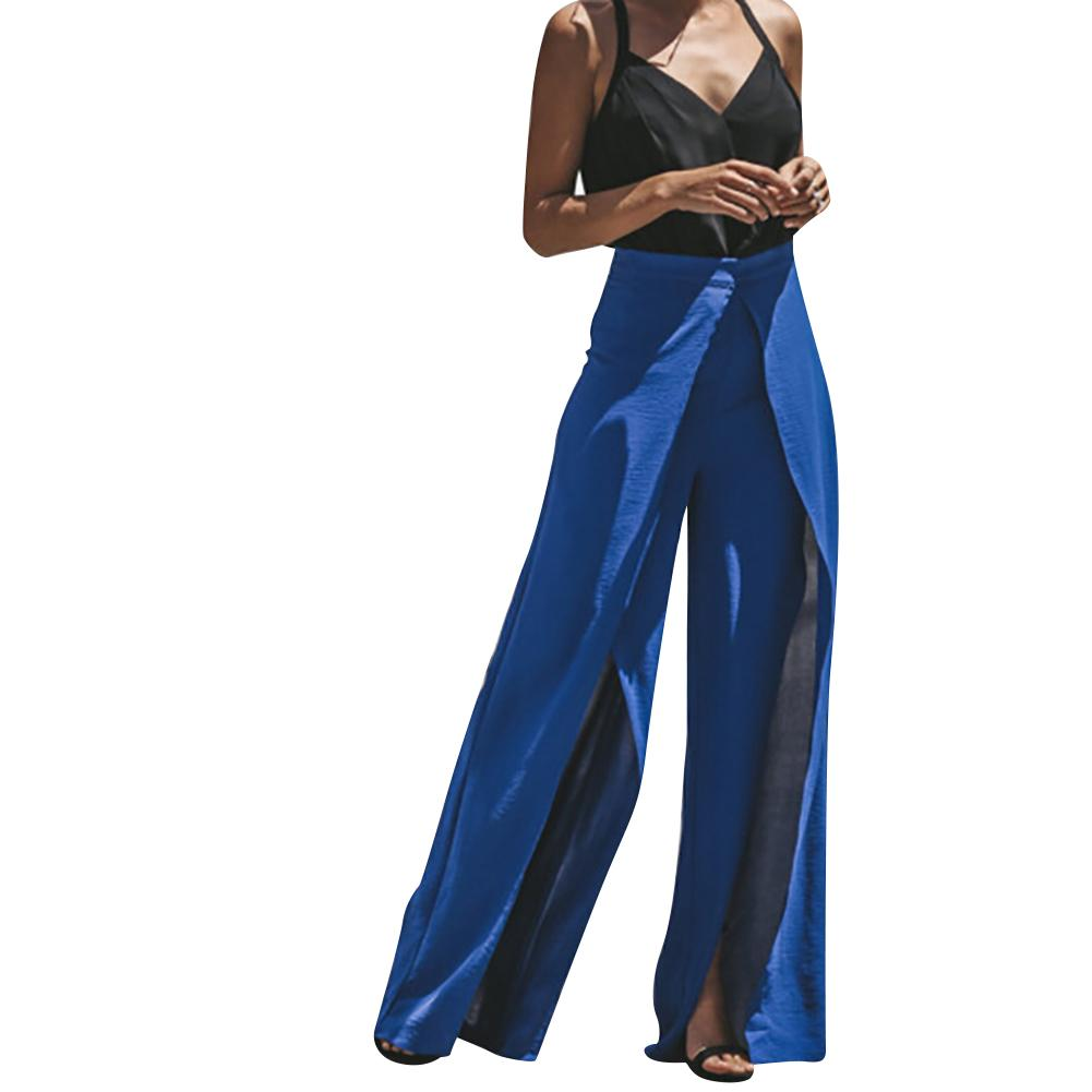 Women Fashion   Wide     Leg     Pants   High Waist   Wide     Leg   Long   Pants   Summer Solid Color Loose Trousers