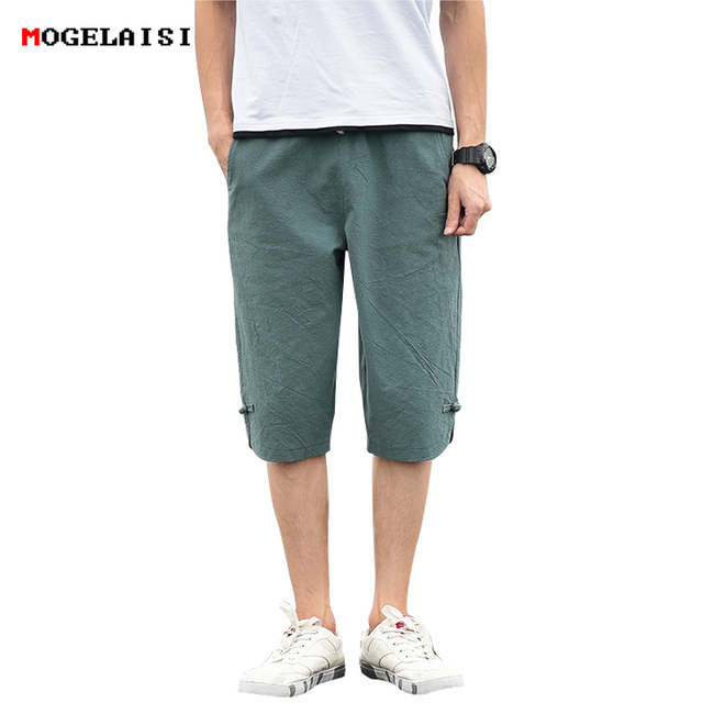 2018 New summer Pencil shorts men cusual Slim retro knee Length shorts solid Pocket breathable Elastic man shorts plus size 5XL