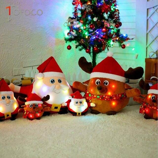 tofoco new 22cm30cm flash singing christmas santa claus elk dolls stuffed plush toys gifts - Singing Christmas Toys