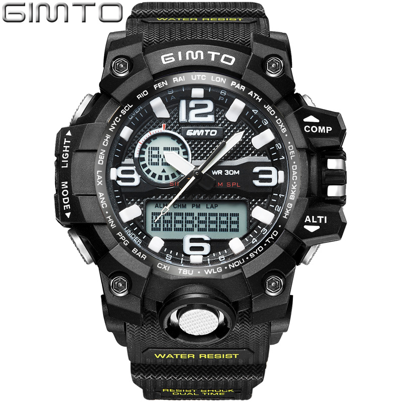 GIMTO Brand LED Sport Watch Men Waterproof Stopwatch Black Mens Military Clock Shock Diving Digital Watches Relogio Masculino