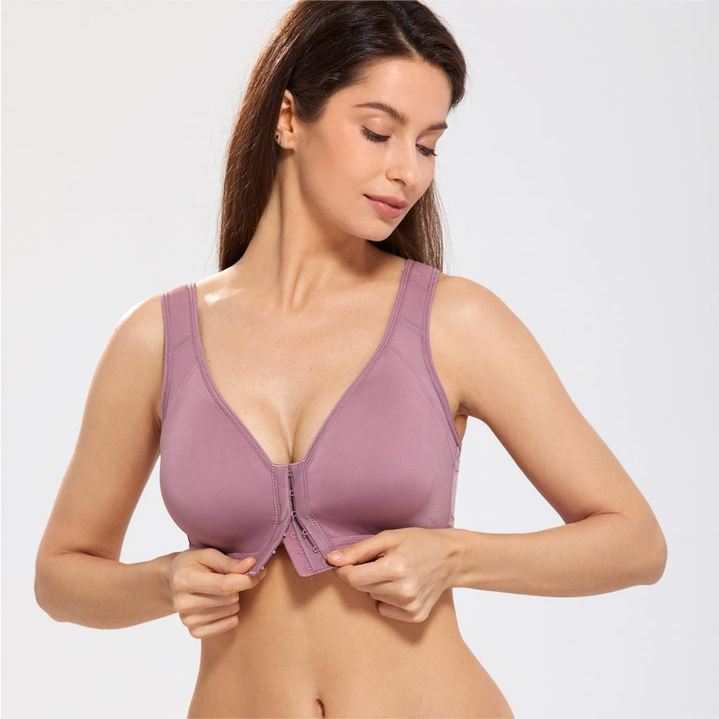 Image 3 - Women's Full Coverage Wire Free Non padded X shape Back Support Front Closure Bra-in Bras from Underwear & Sleepwears