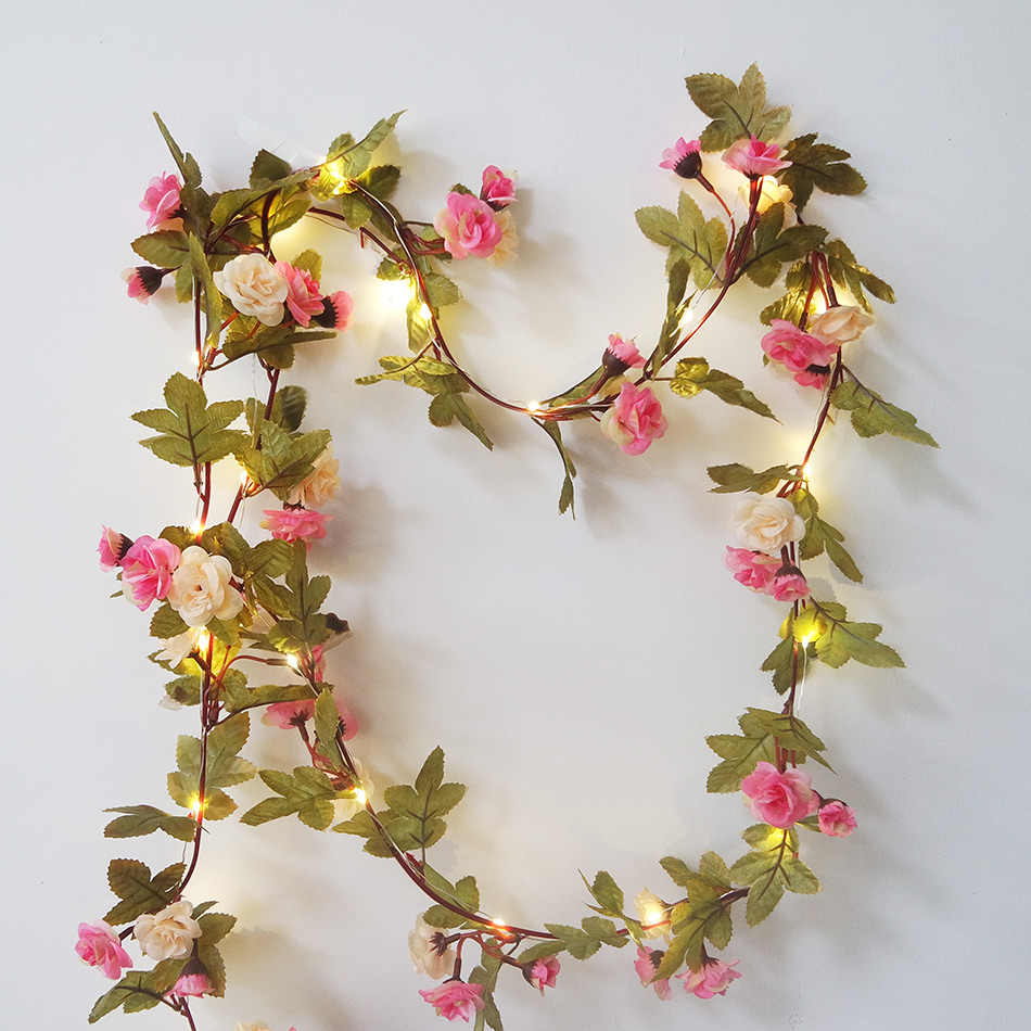 Lovely rose flower garland with Copper LED fairy string light,2.5M 30 leds string light by AA battery, floral led strip light