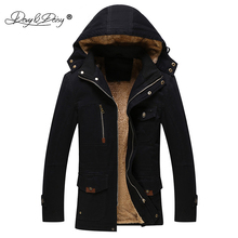 DAVYDAISY Winter Men Jacket Fashion Solid Warm Thicken Hooded Slim Coat Men Outerwear Casual Brand Clothing JK021