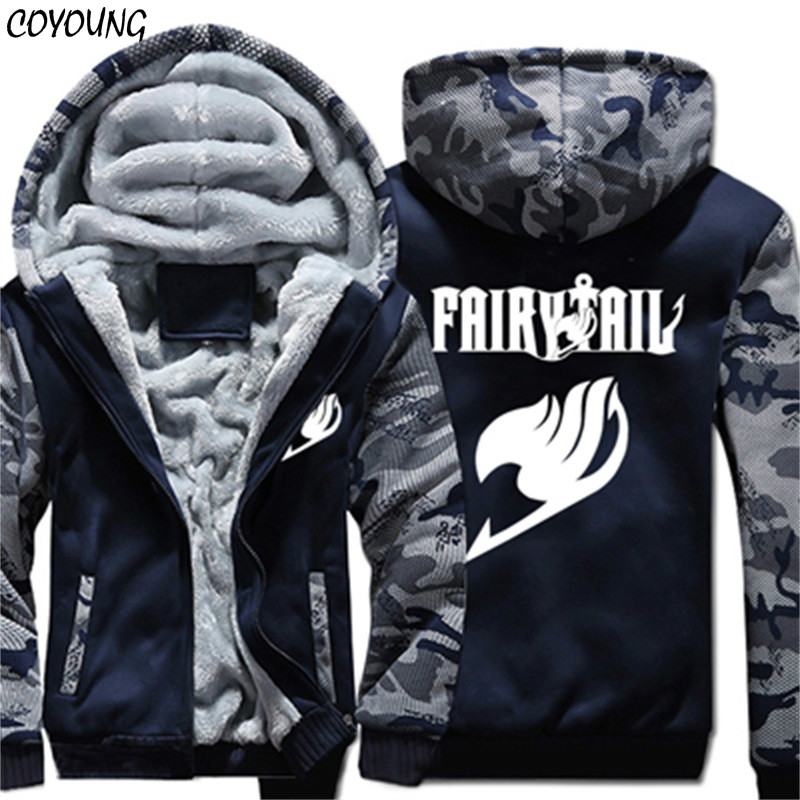 COYOUNG Brand Winter Warm Hoodies Men Anime Fairy Tail Camo Casual Coat Thicken Fleece Zipper Jacket Sweatshirt