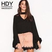 HDY Lady Chiffon Blouse Shirts Female Autumn 2017 Blouses Women Flare Sleeve Sexy Shirts Halter V
