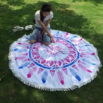 26 Colors 150cm Tassel Giant Beach Blanket Donut Pizza Picnic Camping Mat Round Sandbeach Towel Printed Cloth Pad Shawl Mattress 2