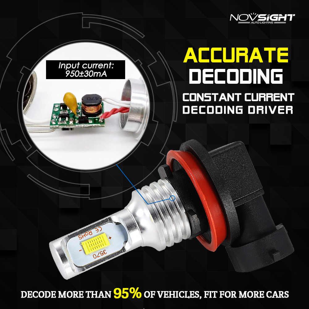 NOVSIGHT H11 1800LM Car LED Fog Lights H8 H9 H16JP Auto Driving Fog Lamps Bulbs White