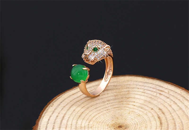 S925 sterling silver leopard head แหวนยุโรปและสหรัฐอเมริกาผู้หญิงเพชรแนวโน้มแฟชั่นร้อย tower แหวน
