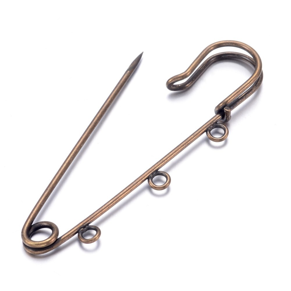 200pcs 3 holes 70x21mm Antique Bronze Iron Kilt Pin Brooch Pin Jewelry Making Accessories DIY Findings, hole: 3~5mm, Pin: 0.5mm