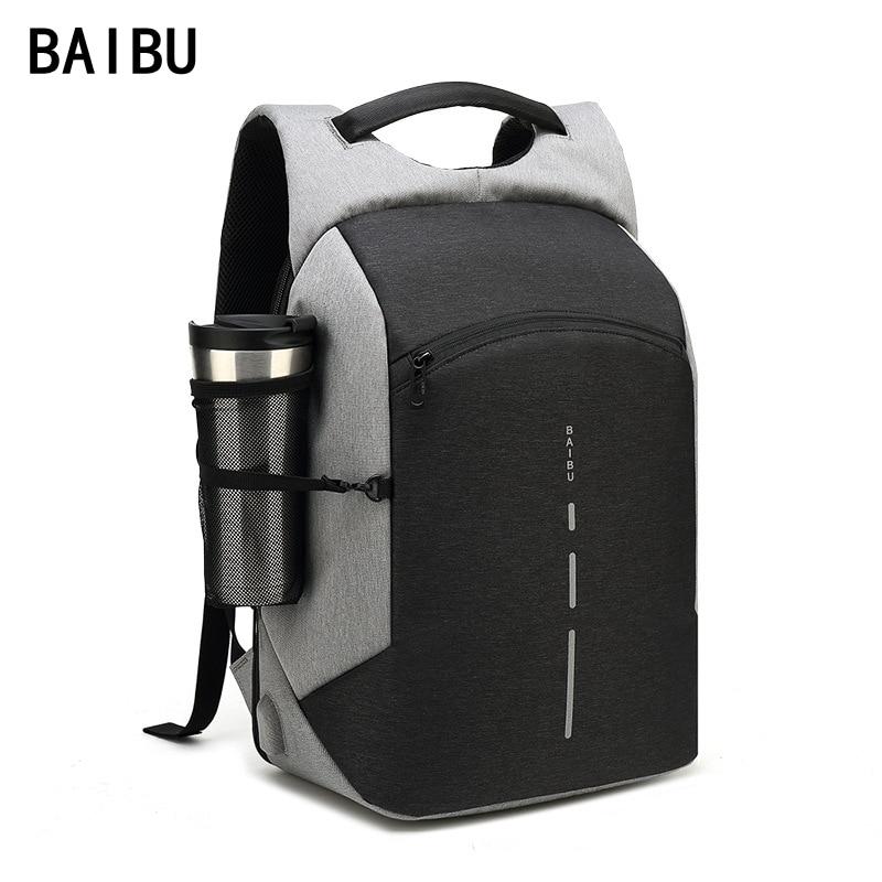 BAIBU Men Multifunction Backpack Anti-theft Waterproof Design Laptop Backpack Student Boy School Bags For Teenagers Travel Bag