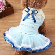 Casual Dog Dress Pet Dog Clothes Spring And Summer Models Dog Clothes Pearl Ribbon Petal Collar Pet Skirt For Small Dogs Coats стоимость