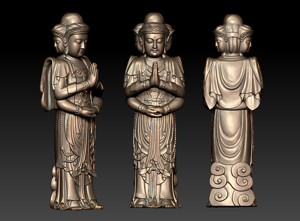 3 heads Guanyin bodhisattva buddha STL format 3D file for cnc engraving carving printing compatible with CAM softwares image