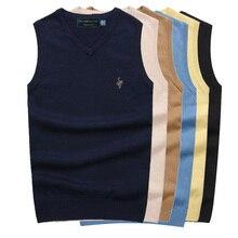 Новинка, мужской свитер без рукавов, жилет, осень-весна, хлопок, Вязанный жилет, свитер, базовый Мужской классический v-образный вырез, топы M02