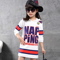 2016 New Autumn Patchwork Letter Girls Pullovers Long Sleeve Children Hoodies Kids Clothing Sweatshirts Vetement