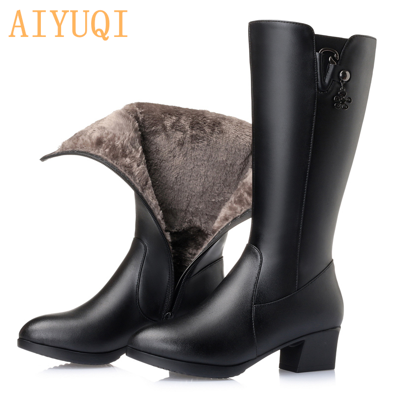 AIYUQI Female boots ,2019 winter new genuine leather women boots, Middle tubeKnight boots  , fashion women's motorcycle boots