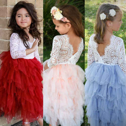 7866ffe51d Princess Kid Baby Girls Lace Ball Gown Dresses Long Sleeve Red Pink Party  Pageant Dresses Outfits