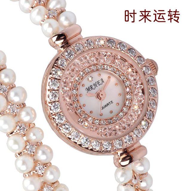 Women's watch fashion ladies watch pearl bracelet watch purple rhinestone trend table  free shipping