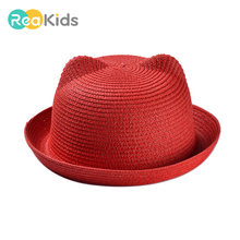 Cute Cat Ears Children Hats Multicolor Cartoon Fashion Sunhats Summer Outdoor Pure Color Kid'S Cap(China)