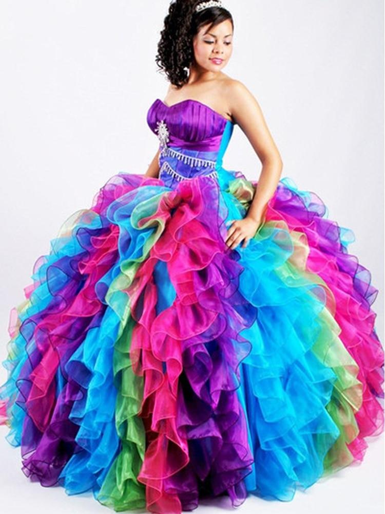 Ball-Gown Quinceanera-Dresses Anos Rainbow Doce Ruffles Colorful Sweet Robe-De-Bal Vestido-De-15