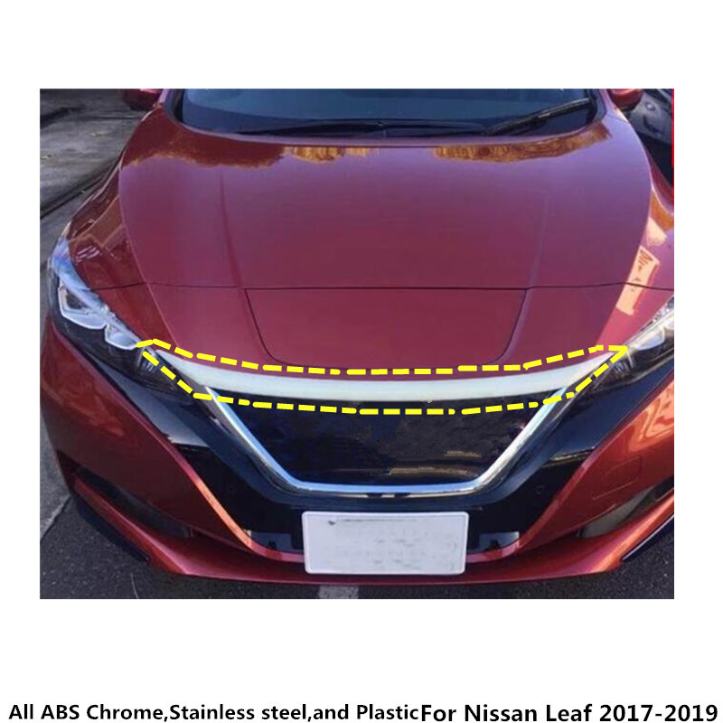 Hot sale For Nissan Leaf 2017 2018 2019 1pcs car garnish cover ABS Chrome front engine Machine grille upper hood lid trim lamp car garnish cover abs chrome front engine machine grille grid grill lid trim lamp 1pcs for kia sorento l 2015 2016 2017 2018